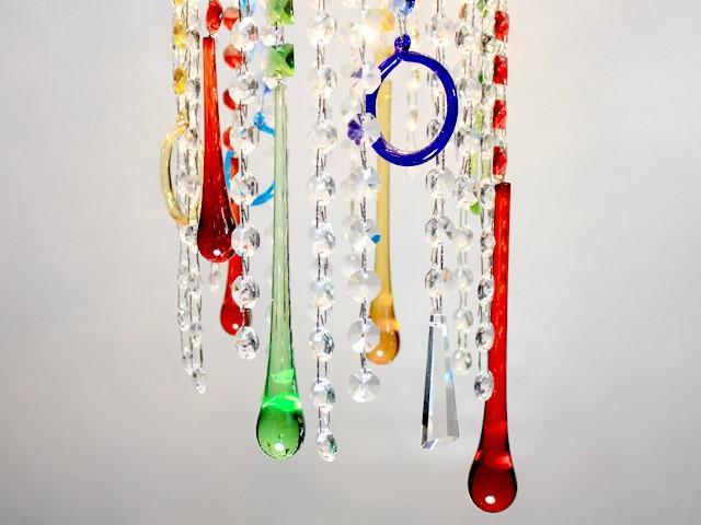 Goccia pendente 75 mm vetro di Murano anice opale in fogo