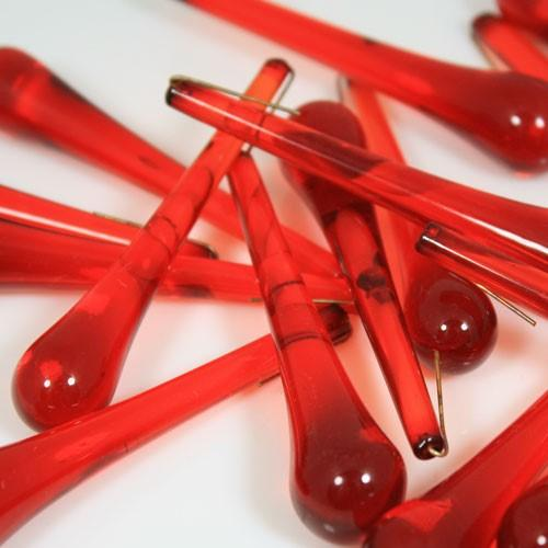 Goccia pendente 75 mm vetro di Murano rosso