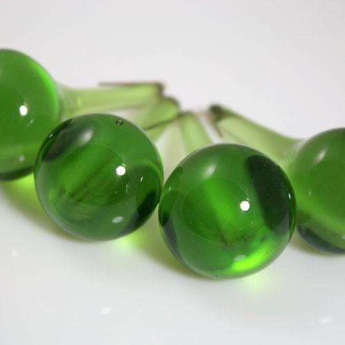 Goccia rotonda 55 mm in vetro Murano color verde oliva