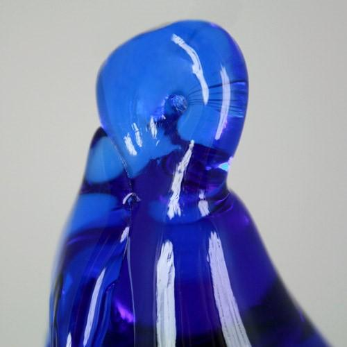 Frutto pendente vetro di Murano. Pera blue in fogo.