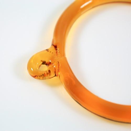 Anello pendente Int. Ø43 mm vetro di Murano ambra scuro