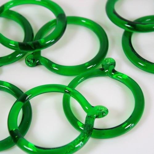 Anello pendente Int. Ø43 mm vetro di Murano verde scuro