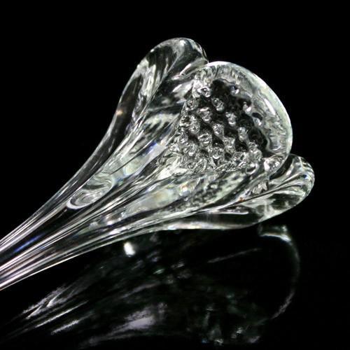 Fiore pendente 12 cm vetro di Murano color cristallo.