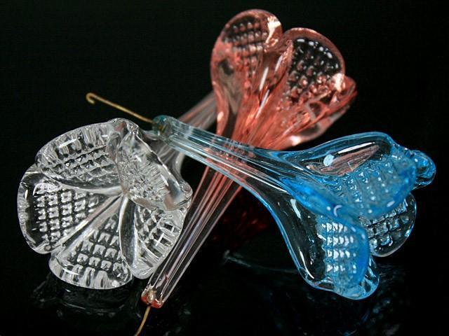 Fiore pendente 7 cm color cristallo in fogo vetro Murano