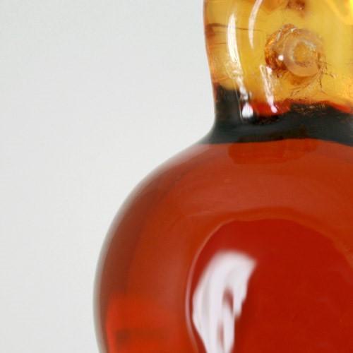 Pendente sfera 35 mm ambra + codolo con foro. Vetro Murano.
