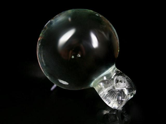 Pendente sfera 35 mm color cristallo + codolo con foro. Vetro Murano.