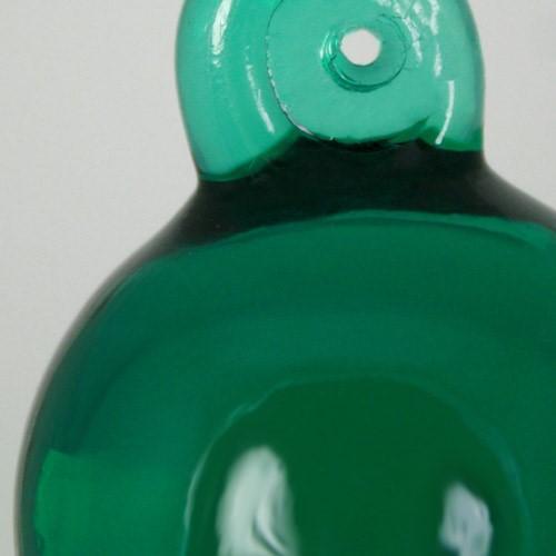 Pendente sfera 35 mm verde scuro + codolo con foro. Vetro Murano.