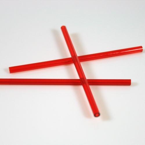 Cannetta in vetro colore rosso lunghezza 8 cm Ø6 mm