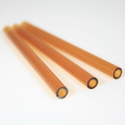 Cannetta in vetro color ambra intenso lunghezza 8 cm Ø6 mm