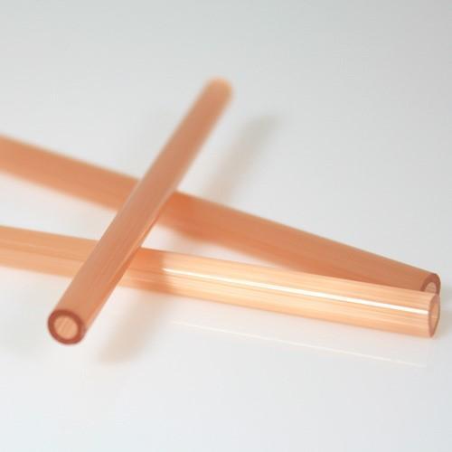 Cannetta in vetro color seta rosa lunghezza 8 cm Ø6 mm