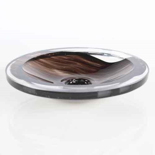 Bobeche piattino lampadari vintage in vetro bronzo nero e cristallo Ø90 mm, foro Ø10 mm.