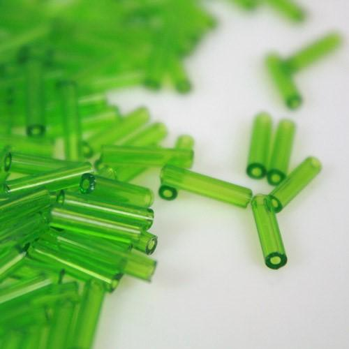 Perline di conteria cannette verde chiaro Ø10 mm vetro di Murano