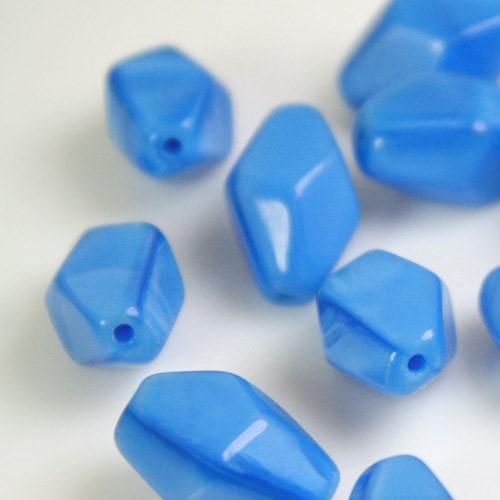 Perla vintage bicono in pasta di vetro blu zaffiro, 16 mm