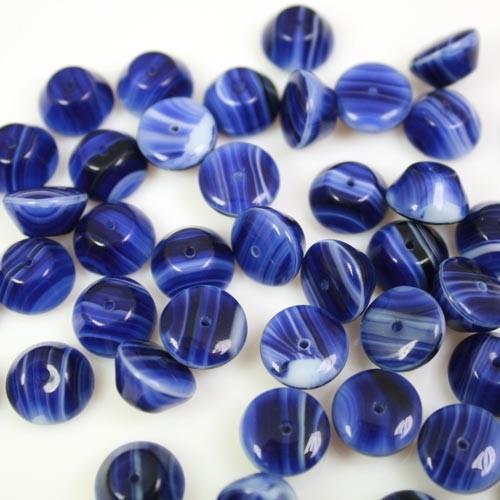 Perla vintage tronco di cono in pasta di vetro screziata bianca e blu, 11 mm