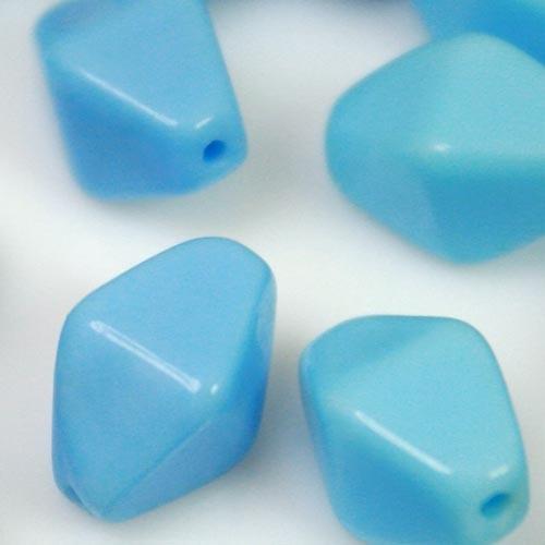 Perla vintage bicono in pasta di vetro celeste, 13 mm