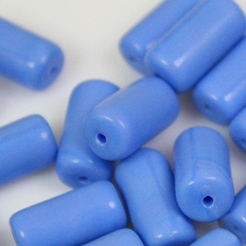 Perla cilindrica in pasta di vetro blu zaffiro, 14 mm