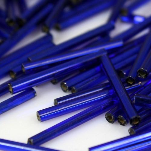 Perline di conteria cannette lunghe blu, 20 mm