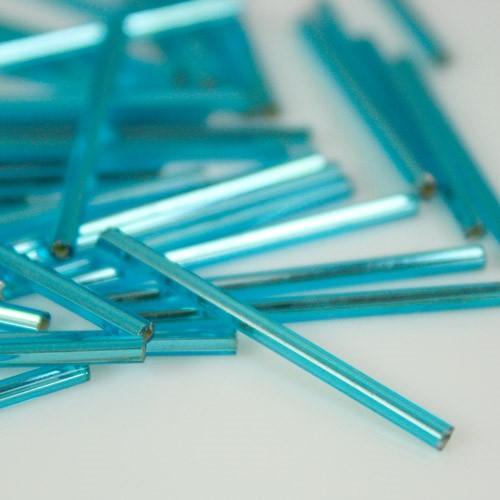 Perline di conteria cannette lunghe turchese, 30 mm