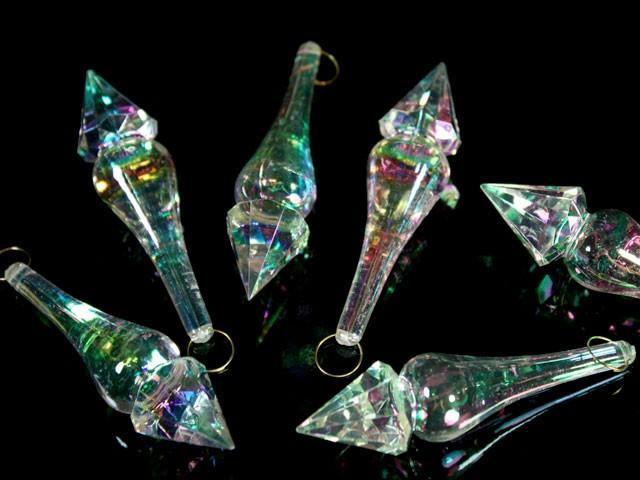 Pendaglio puntale 82 mm in cristallo acrilico trasparente finitura iridata AB