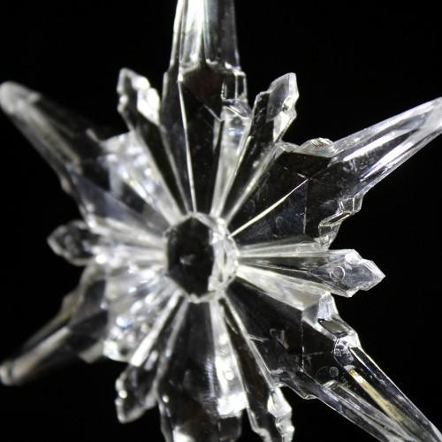 Fiocco di neve a stella 100 mm cristallo acrilico sfaccettato 2 fori, colore puro.