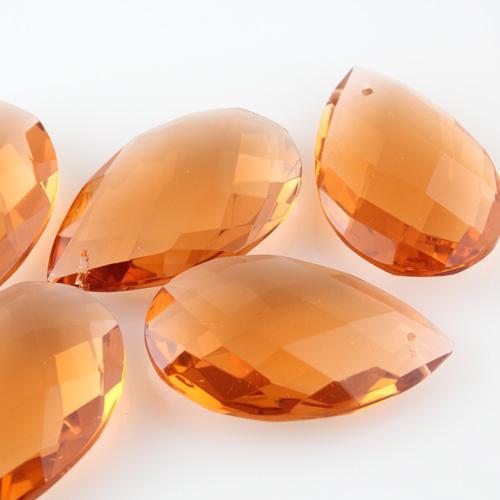 Mandorla goccia h64 mm cristallo Boemia originale cecoslovacco rosa antico. Pendente lampadari molato a mano.