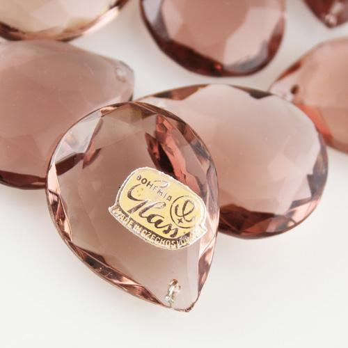 Mandorla in cristallo antico marchio Boemia h40 mm colore ametista. Goccia per lampadari cristallo.