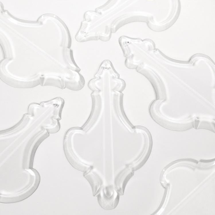 Placca cristallo Boemia 125 mm pendente molato per lampadari antichi Impero Maria Teresa