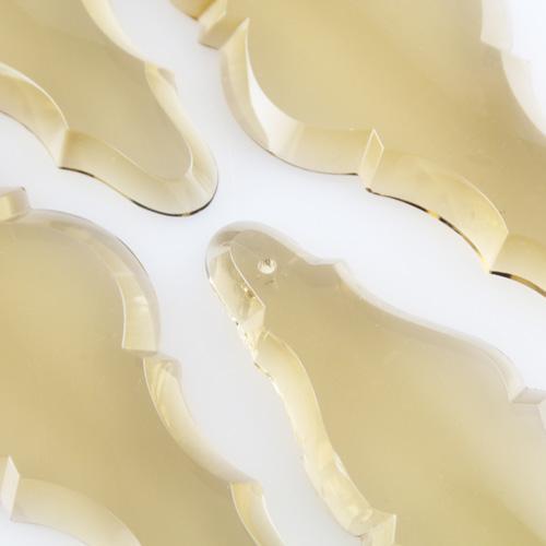 Pendente placca cristallo di Boemia 127 mm colore fumè. Goccia per restauro lampadari.