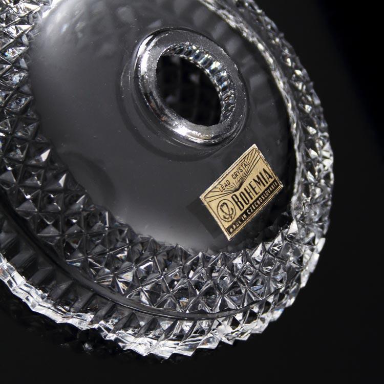 Bobeche lampadari cristallo Boemia Ø12 cm, foro Ø23 mm, con 5 fori laterali. Tazza lampadari molata a mano.