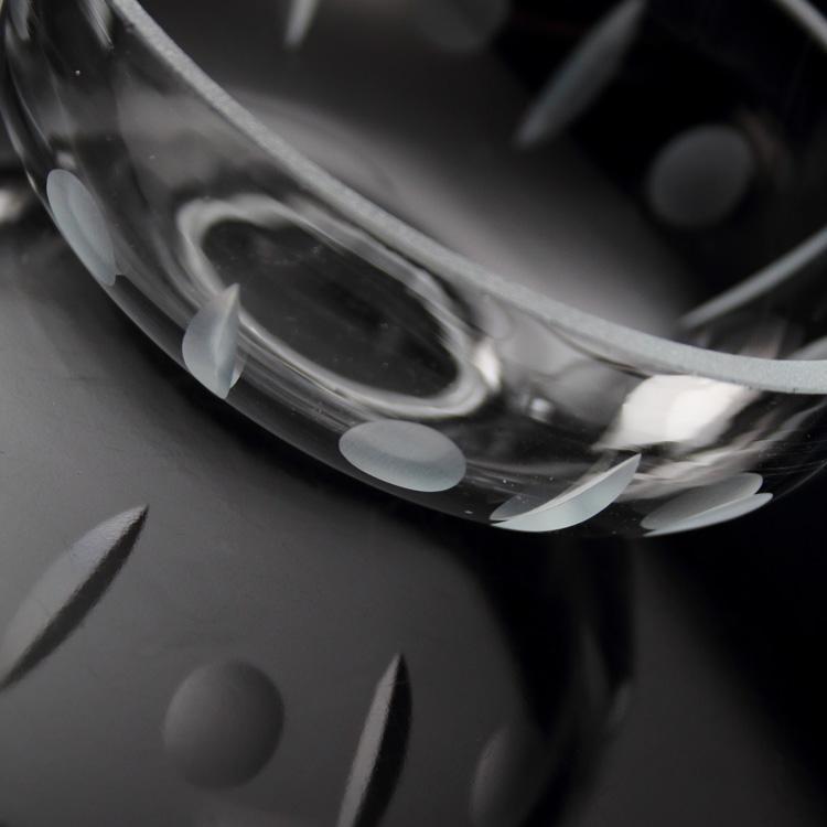 Bobeche liscia cristallo di Boemia Ø10,5 cm, h35 mm, foro centrale 3 cm. Originale per restauri lampadari vintage.