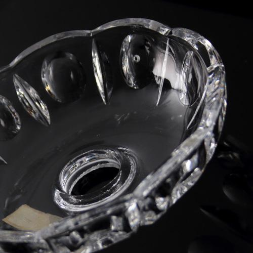 Bobeche coppa molata Ø12 cm, foro Ø15 mm, 5 fori laterali. Marchio originale Boemia cristallo molato.