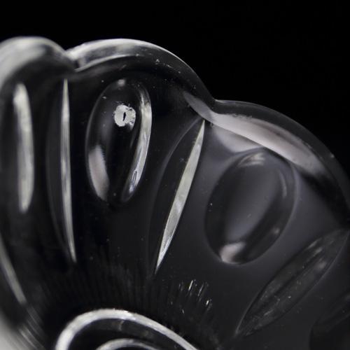 Bobeche tazza in cristallo Boemia. Ø8,6 cm, foro Ø15 mm, 5 fori laterali. Per restauro lampadari vintage e ricambio in vetro.