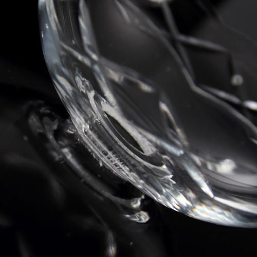 Bobeche coppa in cristallo Boemia Ø9 cm, foro Ø16 mm, 5 fori laterali. Per restauri lampadari a gocce anni '60.