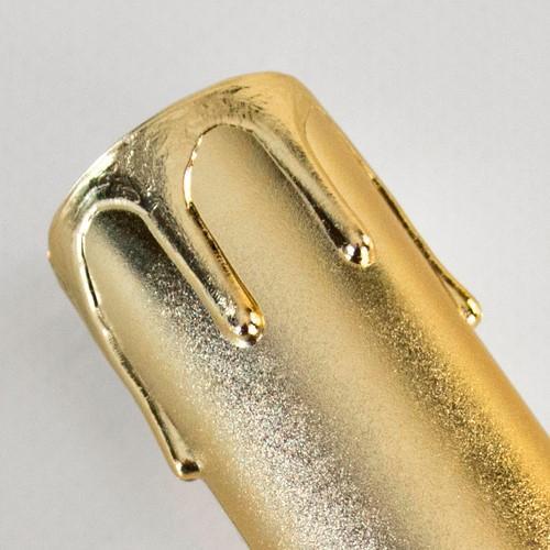 Guscio copri porta-lampada E14 guscio oro finta candela plastica h 65 mm