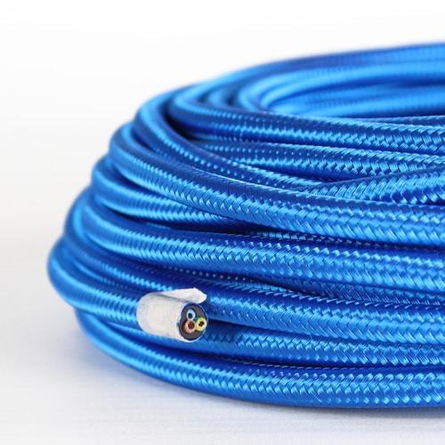 Cavo elettrico tondo isolato in PVC rivestito tessuto blue. Sezione 3x0,75