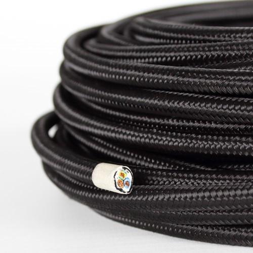 Cavo elettrico tondo isolato in PVC rivestito tessuto nero. Sezione 3x0,75