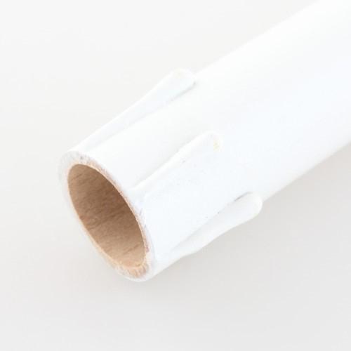 Finta candela in legno h30 cm color bianco con virola E14 completa di cavo 2x0,5 mmq