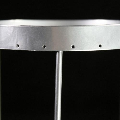 Montatura verniciata cromo per portacandela, bordo 6 mm con 21 fori per catene di cristalli. Ø12 x h18 cm