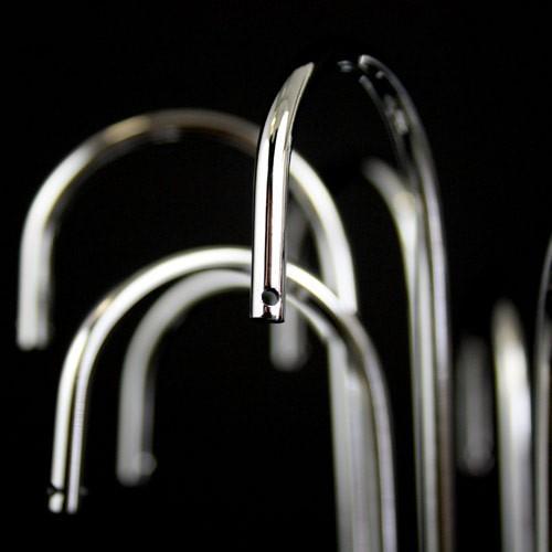 Montatura lumetto a pioggia, 1 luce, finitura cromo, altezza 22 cm  con 10 zampilli forati.