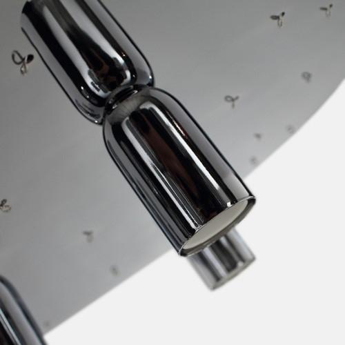 Montatura plafoniera a 5 luci, a 52 fori con finitura cromo, diametro 40 cm