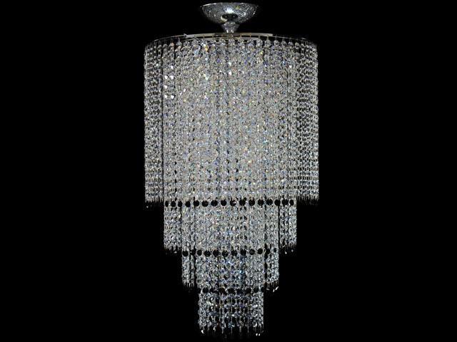 Montatura 4 anelli per lampadario a plafoniera circolare in acciaio cromato Ø 40 cm