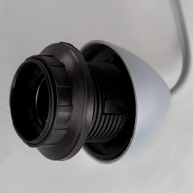 Montatura sospensione lampada E27 rosone con cavo colore grigio in pvc