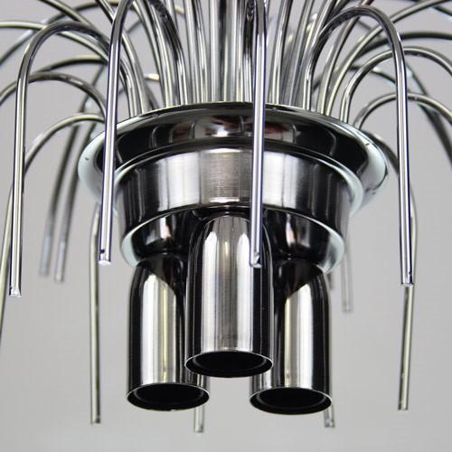 Montatura lampadario a pioggia 3 luci, finitura cromo, diametro 40 cm con 48 zampilli forati e 8 fori nel piatto.
