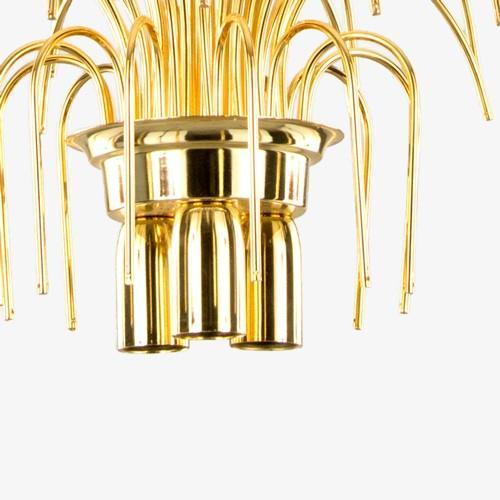 Montatura lampadario a pioggia 3 luci, finitura dorata, diametro 40 cm con 48 zampilli forati e 8 fori nel piatto.