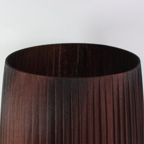 Paralume 35x28x30 cm tronco cono rivestito con organza nastrata color marrone, attacco E27 inferiore