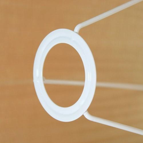 Paralume tronco di cono in organza dorata, Ø40 cm, h 30 cm, foro superiore 30 cm. Attacco E27. Montatura bianca