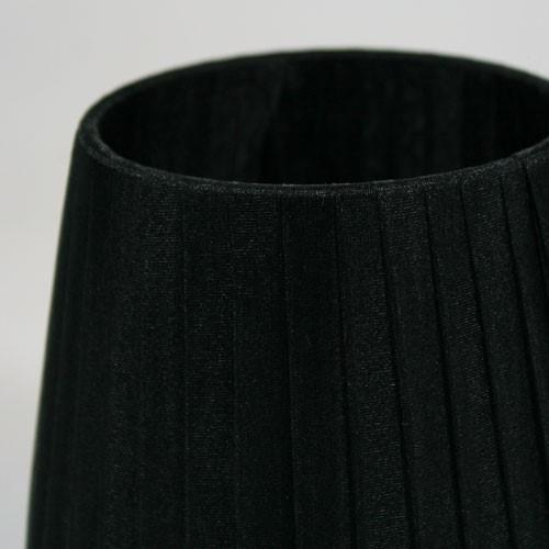 Paralume 14x10x12 cm rivestito in velo siena organza nera. Montatura nera attacco E14