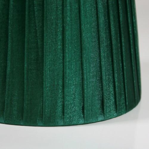 Paralume 14x10x12 cm rivestito in velo siena organza verde. Montatura bianca attacco E14
