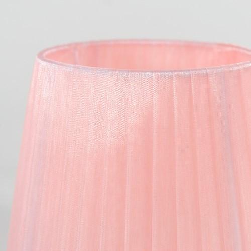 Paralume 14x10x12 cm rivestito in velo siena organza rosa. Montatura bianca attacco E14