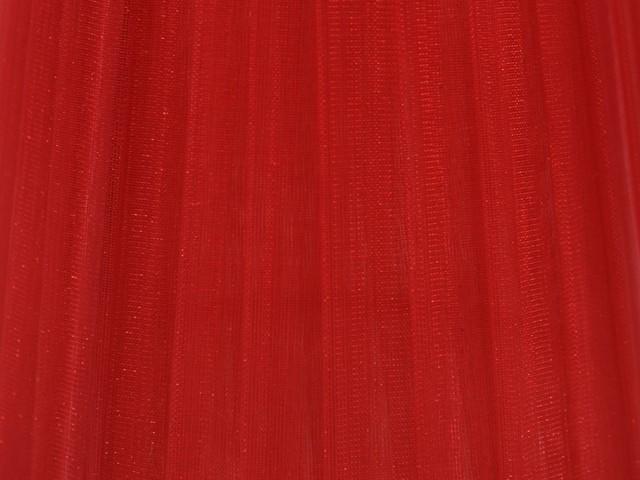 Paralume 14x10x12 cm rivestito in velo siena organza rosso. Montatura bianca attacco E14